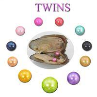 Vente en gros bricolage naturel Akoya Couleurs d'eau douce 6-7mm Mix Twins Perle Ronde Oyster pour le bricolage Faire cadeau Bijoux Collier Bracele Boucles d'oreilles Bague