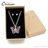 2018 Cute Kid Jewelry Set Butterfly Necklace Women Silver Ch...
