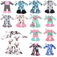 2019 новый мальчик девочка Комбинезоны цветочные рюшами ползунки Хлопок дети с рюшами Пижамы дети Подняться одежда 37 стилей C3378