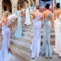 맞춤 제작 인어 신부 들러리 드레스 섹시한 등이없는 2020 스트랩과 큰 활 허리띠 긴 웨딩 게스트 드레스 이브닝 가운 벨트