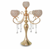 elegant new tall 5 arms wedding rose gold crystal candelabra...