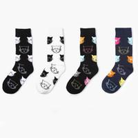 1 Dutzend / 12 Paare Neue Ankunft Cartoon Katze Muster Frauen Socken Schwarz Weiß Casual Baumwolle Weiche Atmungsaktive Socken für Weibliche großhandel