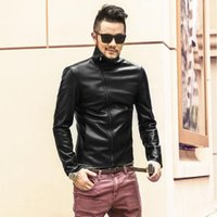 Imitation Leather Jacket Men Motorcycle Jackets Black Leathe...