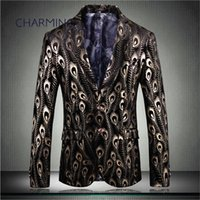 Modern mens suits jacket, peacock feather print fabric, gent...