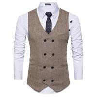 Hombres Old School 8 botones chalecos en espiga para hombre Slim Fit Mans traje chaleco sin mangas chaleco Formal para traje o smoking