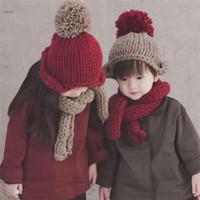 Berretti all'uncinetto per bambini Berretti invernali a maglia per bambini Sciarpe Set Soft Warm antivento Ragazzi Ragazze Bambini Bonnet Berretti Cappellini bambini regalo di natale