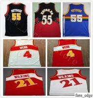 b028b9665 NCAA College Basketball   4 Spud Webb Jerseys Hombres Malla Blanco Rojo  Uniformes 21 Dominique Wilkins