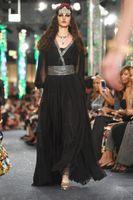 New Arrival Black Evening Dresses V Neck Long Sleeve Beading Sash Plus Size Pageant Party Prom Gowns Vestidos De Fiesta