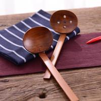 Vajilla de madera Cuchara de sopa de tortuga Ramen japonés De madera Colador largo Cuchara olla caliente práctica y duradera SN1905