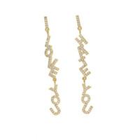 2018 Yeni Moda altın gümüş renk charm dangle küpe ile kadınlar için ışıltılı tiny CZ sevimli kız romantik lover nefret Mektubu küpe hediye