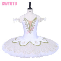 Newest white gold performance pancake stage costume tutu Gir...