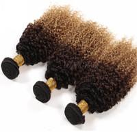 Tre toni di colore 1b 4 27 marrone miele biondo onda di acqua capelli estensione profonda onda riccia brasiliana vergine trama dei capelli umani 3 pz / lotto
