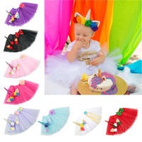 9 Color Girls INS Unicorn TUTU skirt + hair accessory sets 20...