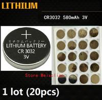 20 шт. 1 лот CR3032 3 В литий-ионная батарея клетки кнопки CR 3032 3 Вольт литий-ионные батареи монета Бесплатная Доставка