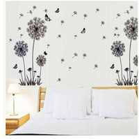 """""""Butterfly Flying In Dandelion """"bedroom stickersPoastoral Style Wall Stickers Original Design 2017 PVC Wall Decals ZY5125"""