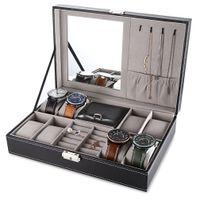 Multifunktions-Uhr Jewlery Dispaly Box PU-Leder-Uhr-Ohrring-Ring-Halsketten-Kasten-Speicher-Schatullen-Anzeigen-Halter-TOP-Qualität