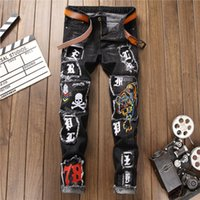 Mens Jeans negros Slim Fit Hombres Stretch Jeans Tiger Skull Embroidery Badge Punk Streetwear Otoño Invierno Pantalones de denim Hombres