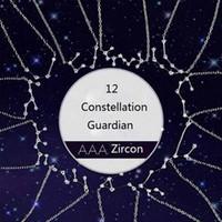 Crystal 12 Constellation Pendentif Colliers pour femmes Mesdames Zircon Chaîne Collier Bijoux Saint Valentin Jour Anniversaire Cadeau pour sa petite amie