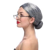Старая леди одеты парик окружающей среды ПЭТ волос выпускного вечера реквизит старая бабушка парики головной убор для косплей Маскарад партии