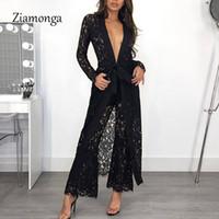 Ziamonga 2018 Новая Мода Sexy Кружева Выдалбливают 2 Шт. Набор Осень Женщины Костюм Женский С Длинным Рукавом Глубокий V Шеи Брюки Для Женщин