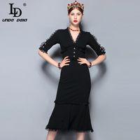 LD Линда делла мода взлетно-посадочной полосы летнее платье женщин V-образным вырезом старинные черные кружева пэчворк Bodycon сексуальная русалка платье партии 2018