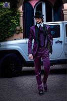 Neue Mode Shiny Lila Bräutigam Smoking Groomsmen Tragen Ausgezeichnete Männer Geschäfts Aktivität Anzug Party Prom Anzug (Jacke + Pants + Tie) NR .: 107