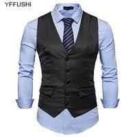 Gilet da uomo YFFUSHI 2021 Primavera uomo gilet V-Neck Single Breasted 3 Colori solidi 5 bottoni stile casual slim fit design moda