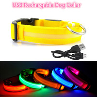 8 Color S- XL Rechargeable USB LED Dog Collar Night Safety Fl...