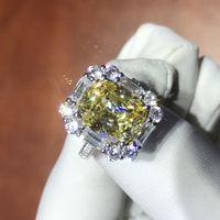 최신 럭셔리 ForeverBeauty 레트로 디자인 쿠션 컷 합성 4CT 노란색 다이아몬드 약혼 결혼식 레이디 반지