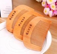 Doğal Şeftali Ahşap Tarak Sakal Tarak Cep Saç Fırçası Baskı Logo 9 * 5 cm DHL Ücretsiz Kargo