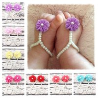 Baby barefoot sandals sweet girls baby anklet foot band toe ...