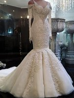 New Arrival Beaded Long Sleeve Lace Mermaid Wedding Dresses ...