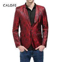 CALOFE marca 2018 Nueva Venta Caliente Blazer Men One Button Men Blazer Slim Fit Traje Homme Traje Chaqueta Masculino Blazer Tamaño M-XXL
