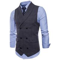 neueste Anzug Weste Männer Jacke Ärmellos Beige Grau Braun Vintage Tweed Weste Mode Frühling Herbst Plus Größe Weste Hohe Qualität