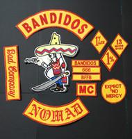 NUEVOS LLEGADOS 12PCS / SET BANDIDOS NOMADS MC PARCHES PARA LA CHAQUETA CHALECO MOTOCICLETA PRENDAS DE VESTIR BANDITA PARCHES DE HIERRO EN LA ETIQUETA DE LA CABLE