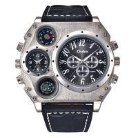 Oulm Super Large Big Watch Orologio al quarzo maschile Design unico Two Time Zone Termometro decorativo Bussola Uomo Sport Orologio da polso