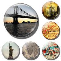 Mappa di New York Manhattan Statua della libertà Magneti da frigorifero  Ponte di Brooklyn da viaggio 30MM frigo magneti città souvenir turistico 77860a785618