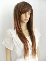New Fashion Long Brown Mix Droite Femmes Lady Cosplay Anime Cheveux Perruque Perruques
