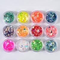 Düzensiz 12 Renk Selofan Sequins Kabuk Kağıt Tırnak Glitter Bling Bling Yanardöner Aksesuarları Gevreği Tırnak Sanat Dekorasyon