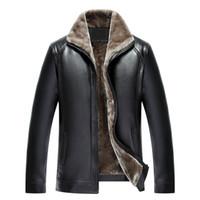 5XL abrigos de invierno para hombre chaquetas de cuero de piel sintética grueso cálido outwear abrigo de mediana edad ropa masculina 2018 de alta calidad