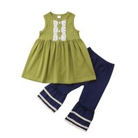 Kid Baby Girls Lace Green Top Navy Bellbottoms 2pcs set Oufi...