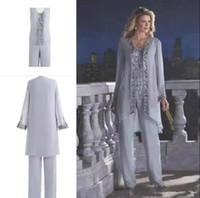 신부의 실버 어머니 3 피스 바지 양복 레이스 쉬폰 해변 결혼식 어머니의 신랑 드레스 긴 소매 웨딩 게스트 드레스 BA6571