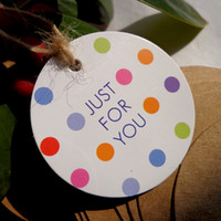 200pcs lot 4cm round colorful JUST FOR YOU hang tag small ca...