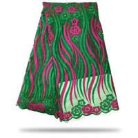 5 야드 / pc 아름 다운 녹색과 자홍색 자 수 rhinestones와 함께 그물 레이스 아프리카 메쉬 드레스 CF8-7