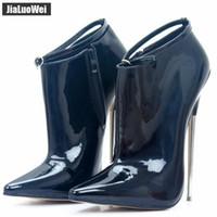 2018 봄 / 가을 섹시한 18cm 익스트림 하이힐은 뾰족한 발가락 금속 스파이크 하이힐을 섹시한 발목 부츠 스트랩 파티 블랙 댄스 신발 펌프