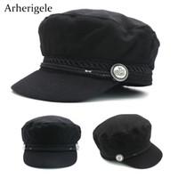 Arherigele 2pcs Fashion Black Baseball Caps Vintage Flat Cap Hats for Women Casual Sun Hat Snapback England Style Hip Hop Cap