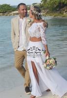 Sexy dos piezas Country Beach vestidos de novia 2020 una línea de encaje de encaje 3/4 mangas de registro dividida gasa vestidos de novia de boda baratos
