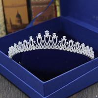 Gelin Tiaras Zirkon Ile Taçlar Gelin Takı Kızlar Akşam Balo Parti Performans Pageant Kristal Düğün Tiaras Aksesuarları # BW-JS015