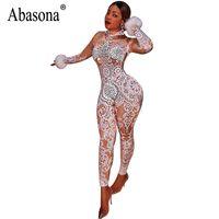 Abasona Vintage Jumpsuits imprimés Femmes Skinny Skinny Combinaisons Sexy Party Club Bodycon Bodycon BodySuits Rompers Womens Combinaison