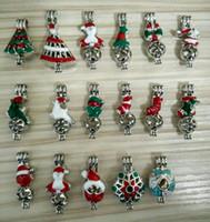 혼합 30styles에 나 멜 크리스마스 테마 로켓 펜 던 트 진주 케이지 향수 X'mas 트리 양말 종 크리스마스 선물 CS005